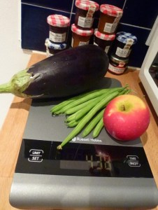 Vegetables on weighing scales