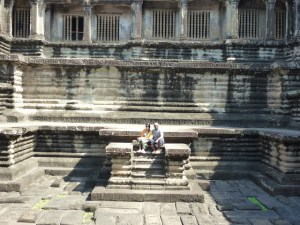 At the steps of Angkor Wat Temple Siem Reap