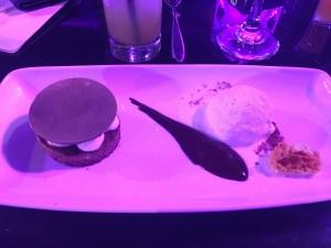 Dessert of ice cream and shortbread