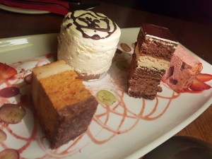 Dessert platter of cheesecake and gluten free millionaire shortbread