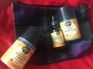 Real tartan washbag containing skincare gifts for her