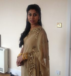 gold and beige saree