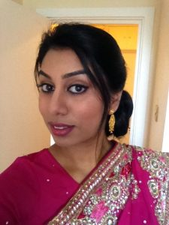 Pink scree and gold wedding makeup