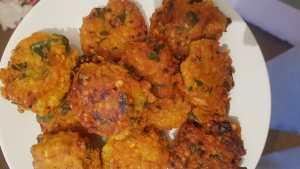 A plate of daal boras - lentil pakoras