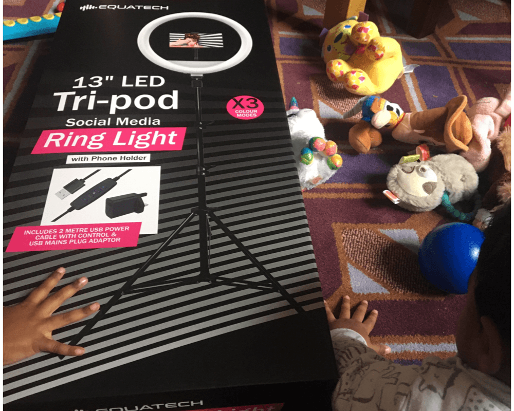 Home Bargains ring light surrounded by toys