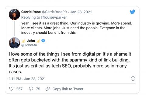 Discussion Twitter sur les relations publiques numériques de John Mueller