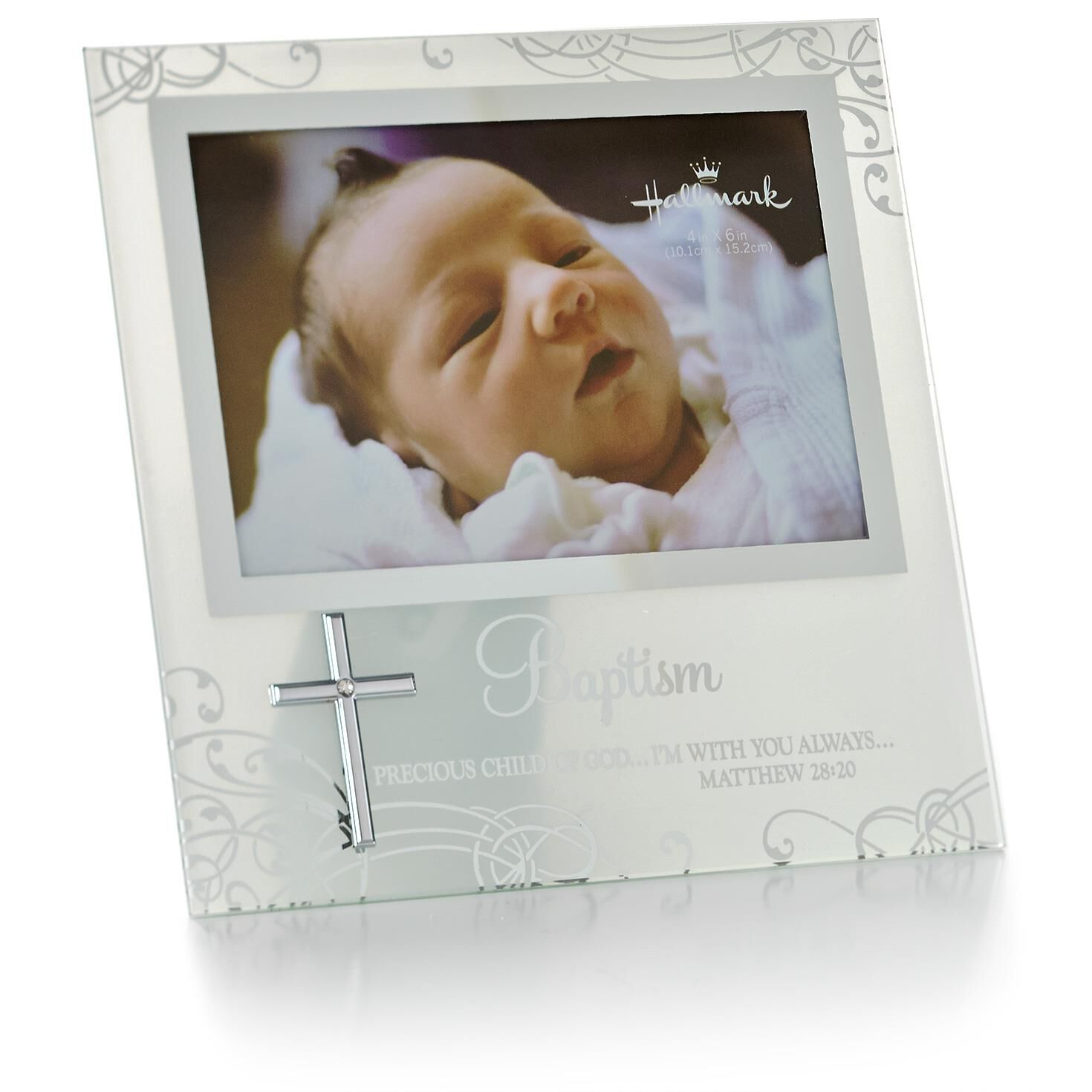 Baptism Glass Picture Frame With Cross 4x6 Picture