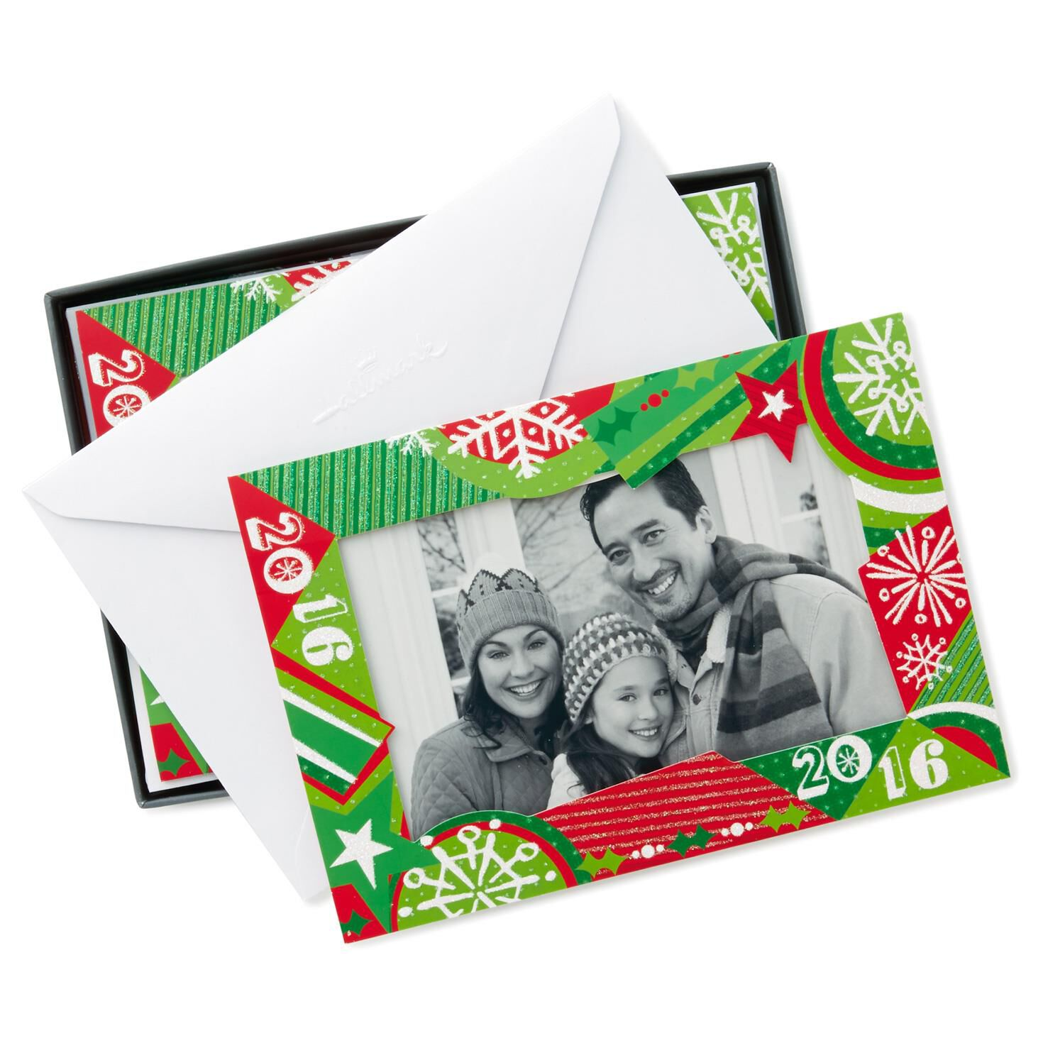 2016 Photo Frame Christmas Cards Box Of 12 Boxed Cards