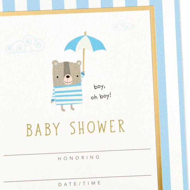 Boy Oh Blue Baby Shower Invitations