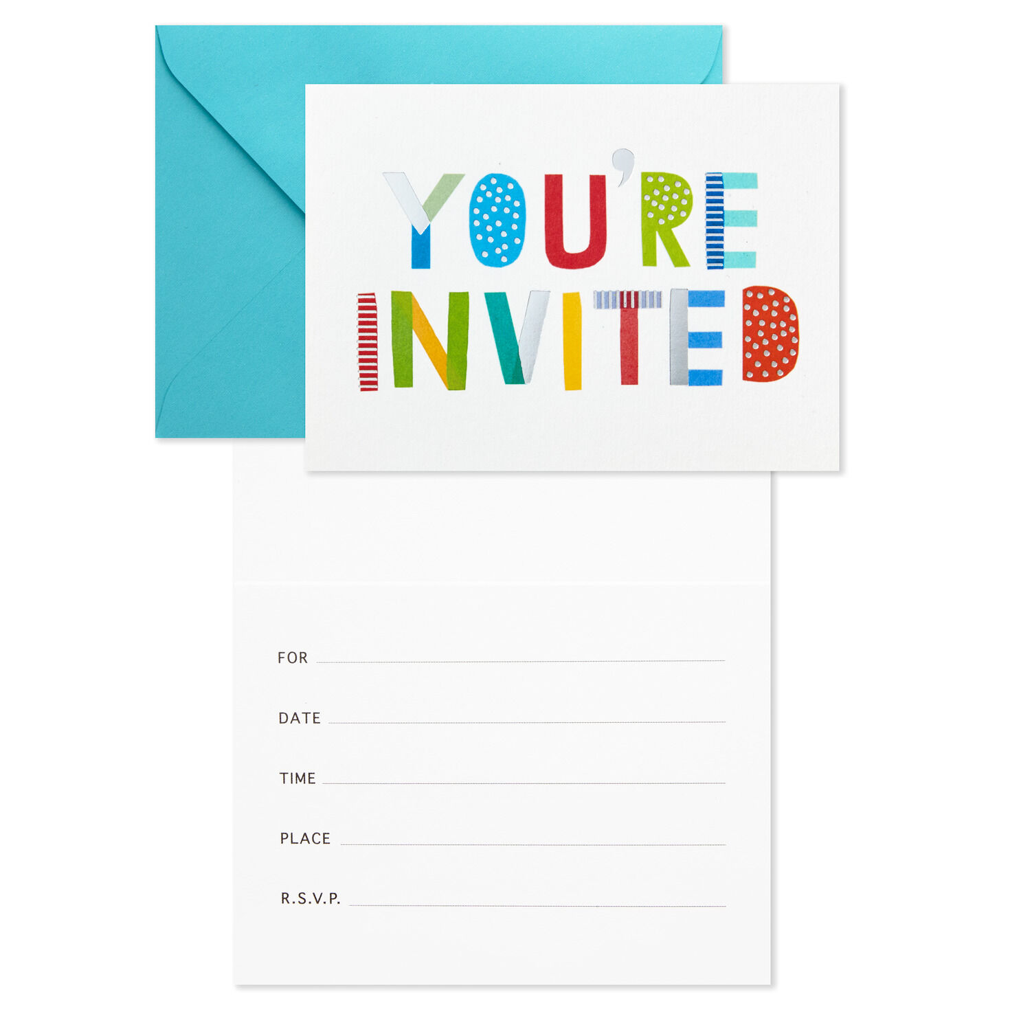 pink and gold stripes party invitation