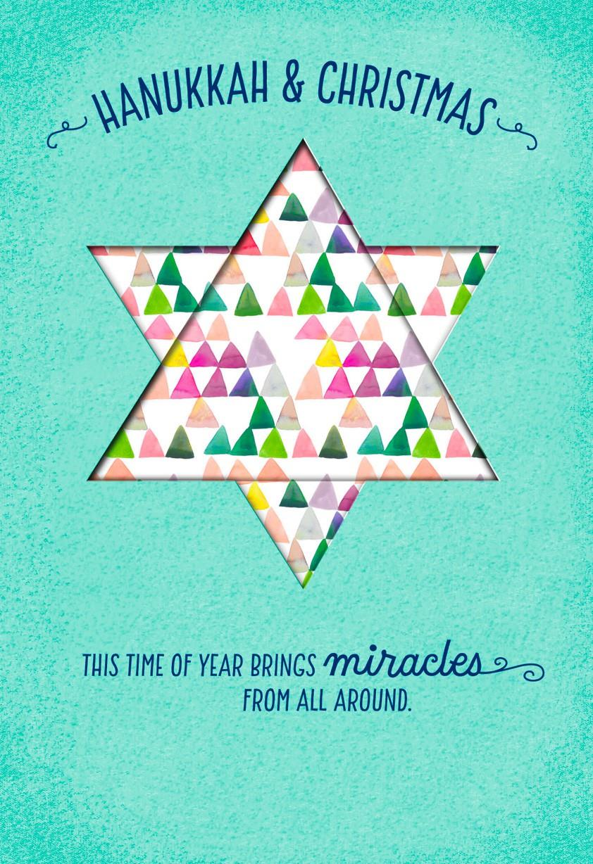 Hanukkah And Christmas Miracles Card Greeting Cards