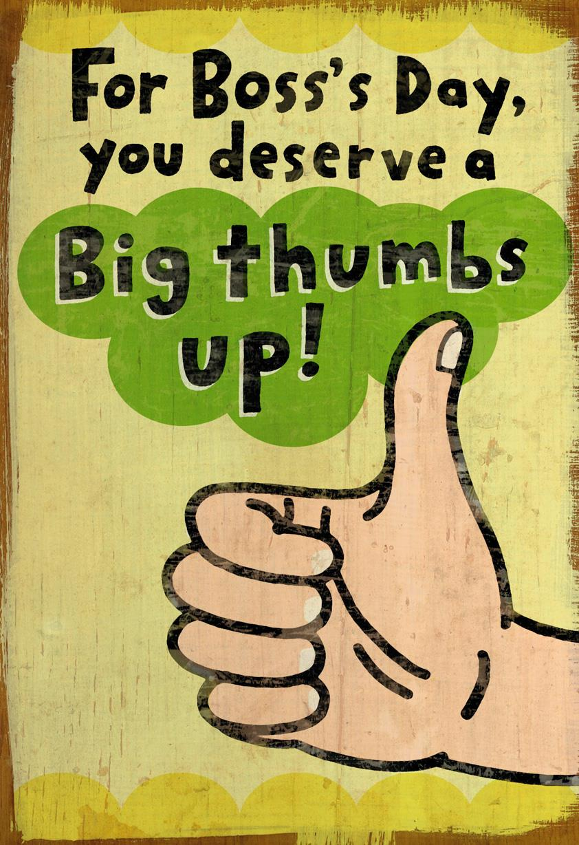Big Thumbs Up Funny Bosss Day Card Greeting Cards