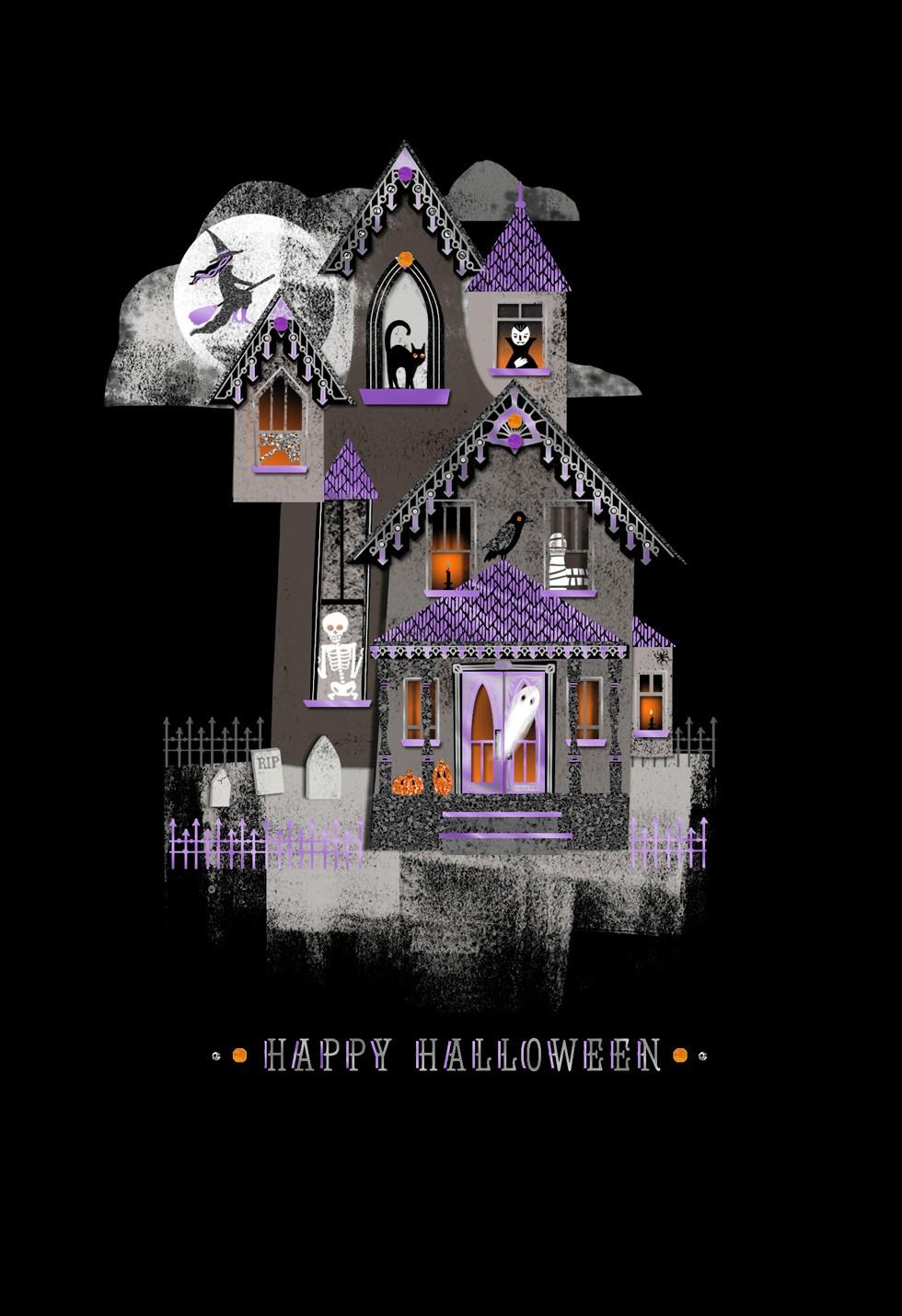 Spirited Haunted House Halloween Card Greeting Cards