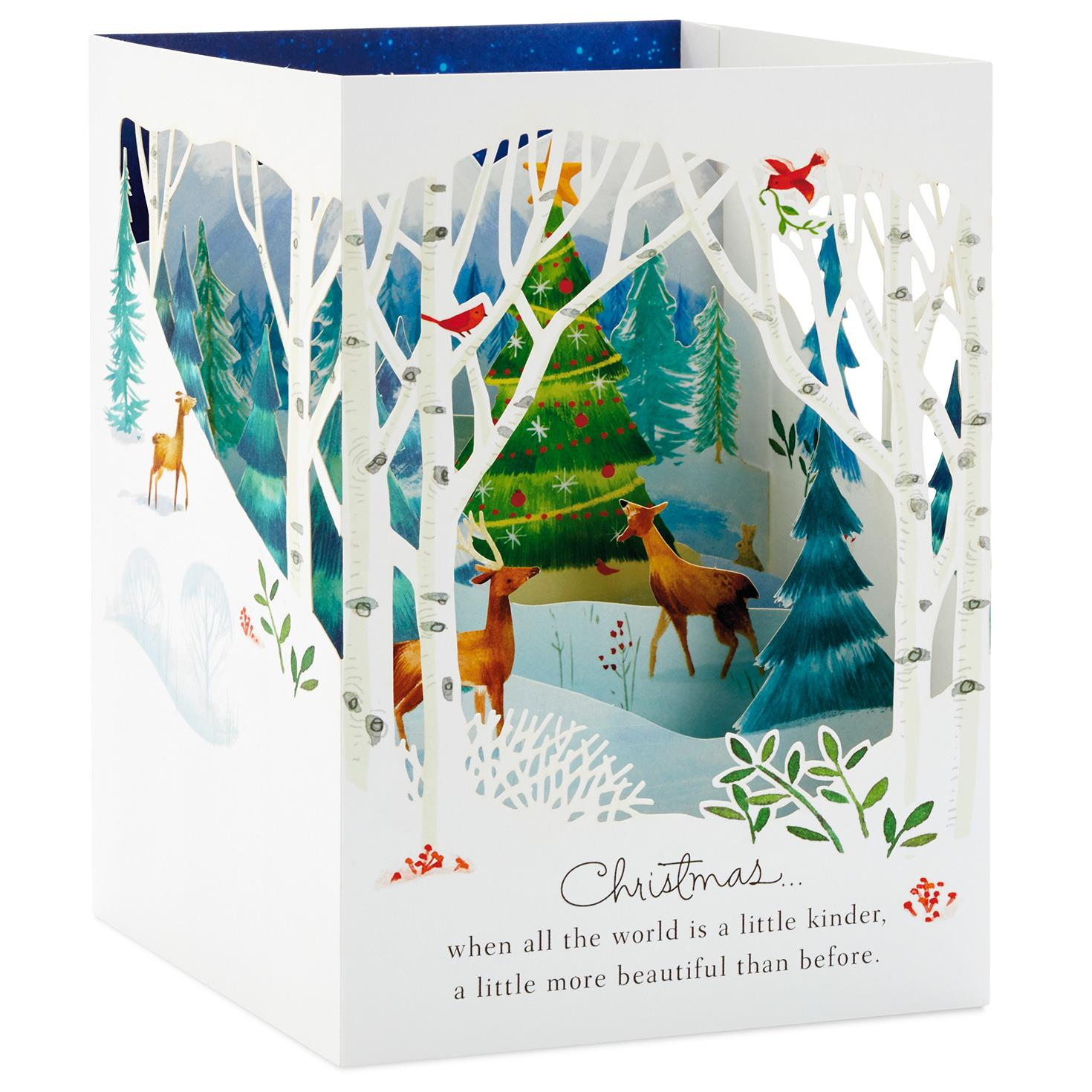 Winter Forest Scene Pop Up Shadow Box Christmas Card