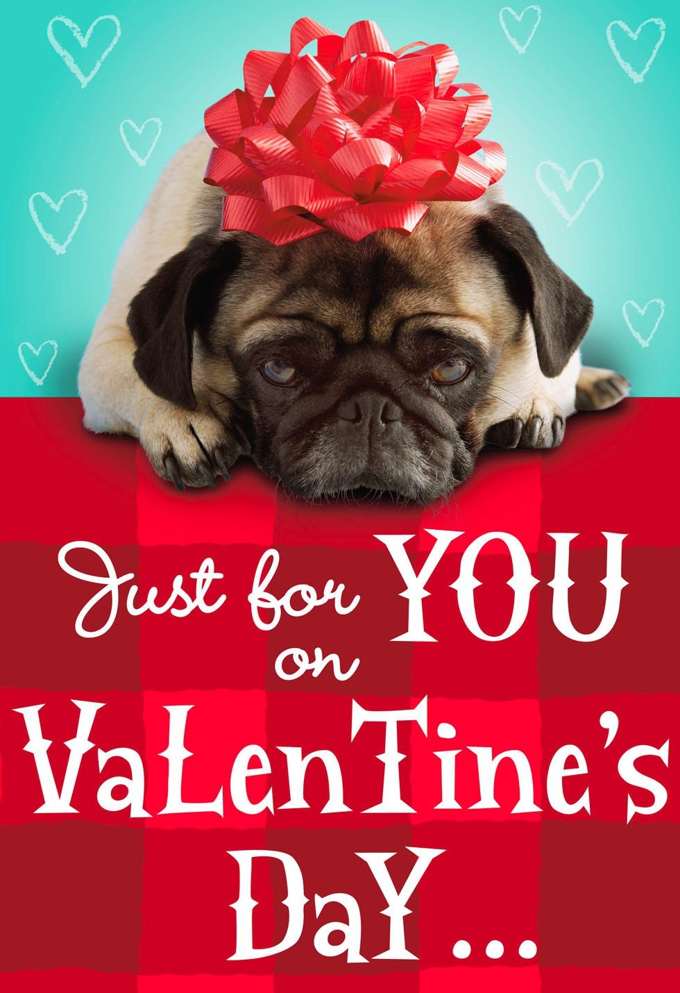 Pug With Red Bow Valentines Day Card Greeting Cards