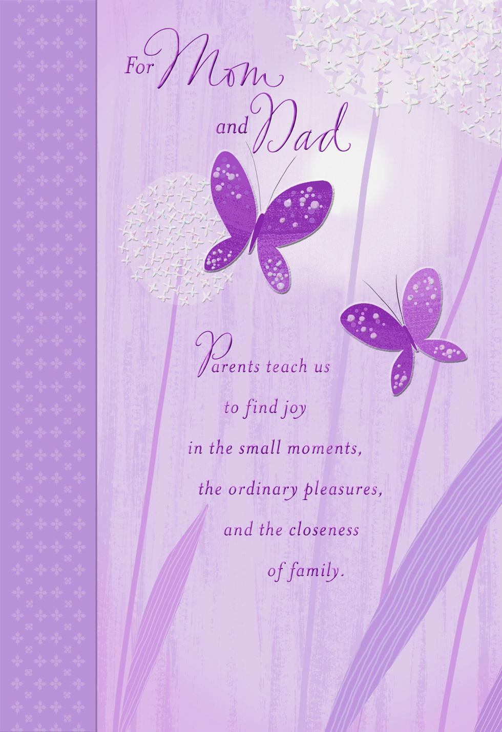 Butterflies And Diamonds For Mom And Dad Easter Card