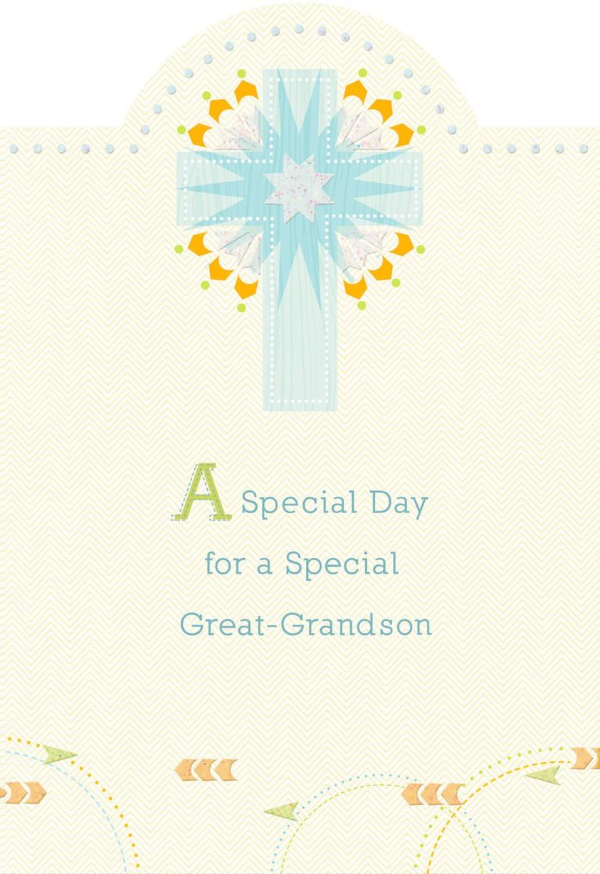 Blue Starburst Cross First Communion Card For Great
