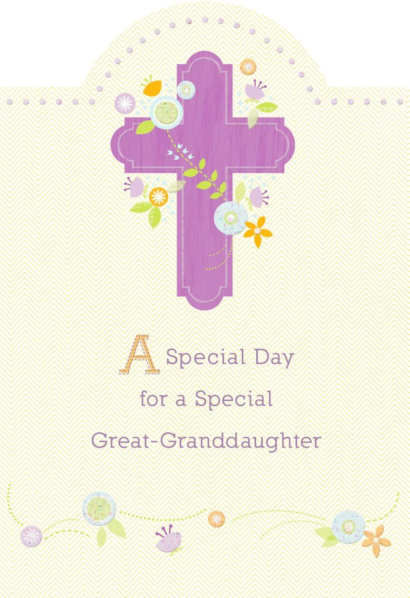 Purple Cross And Flowers First Communion Card For Great