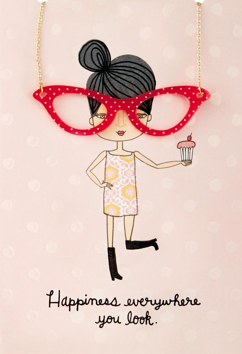 Happy Eyeglasses Necklace Birthday Card Greeting Cards