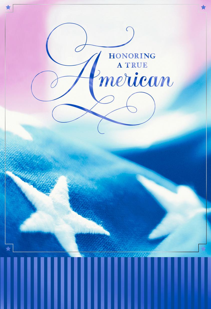 American Flag Military Personnel Sympathy Card Greeting