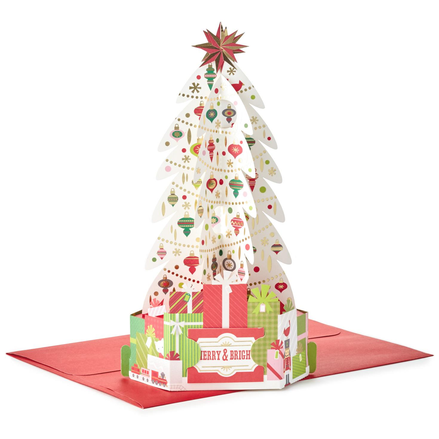 Decorated Tree Pop Up Christmas Card Greeting Cards