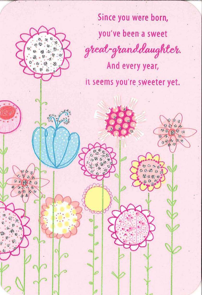 For A Sweet Great Granddaughter Birthday Card Greeting