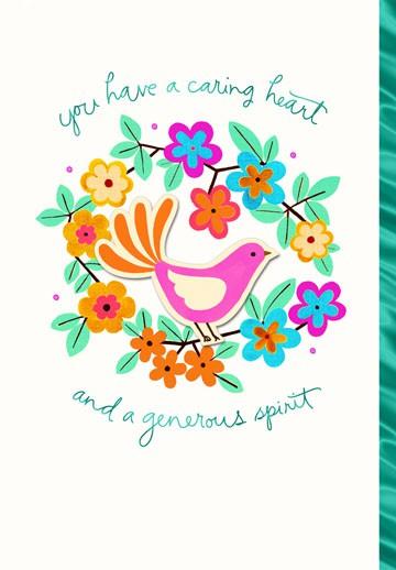 Caring Heart Generous Spirit Thank You Card Greeting