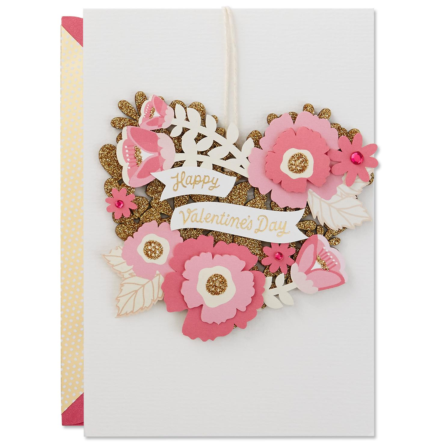 Pink And Gold Glitter Floral Ornament Valentines Day Card
