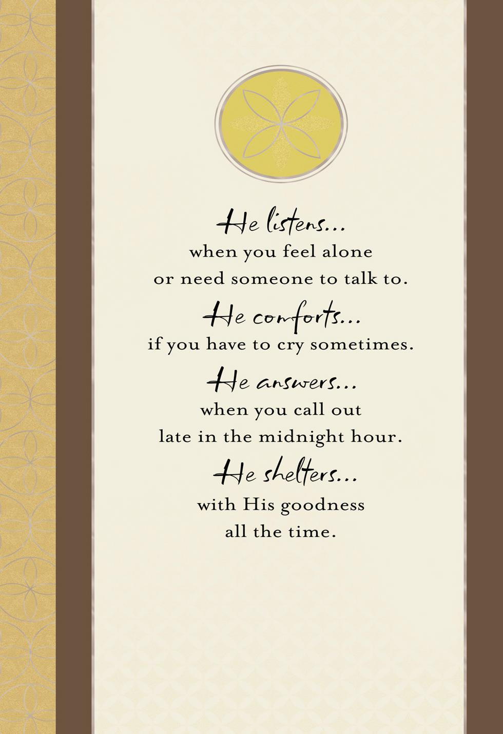 God Walks Beside You Religious Sympathy Card Greeting
