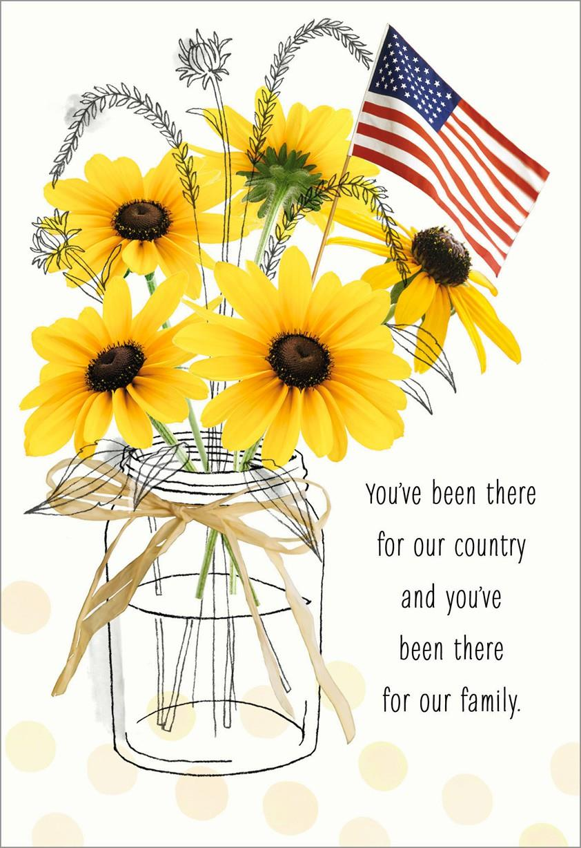 Sunflowers In Jar With Flag Veterans Day Card Greeting