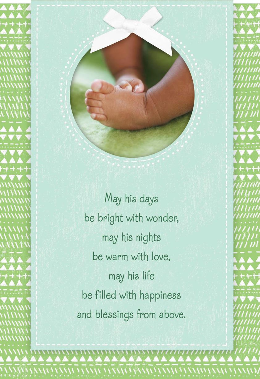 Tiny Blessings Religious New Baby Boy Card Greeting