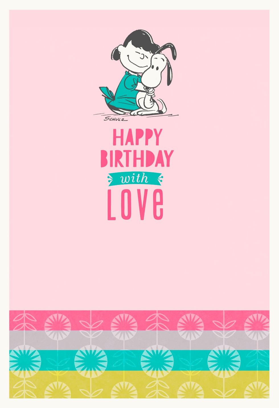 Peanuts Snoopy And Lucy Hug Birthday Card Greeting