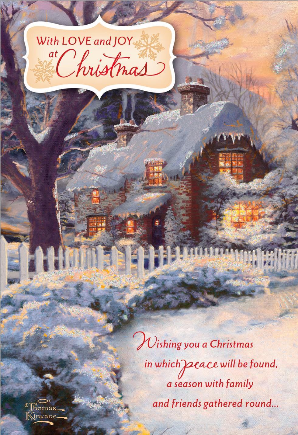 Thomas Kinkade Love And Joy Christmas Card Greeting