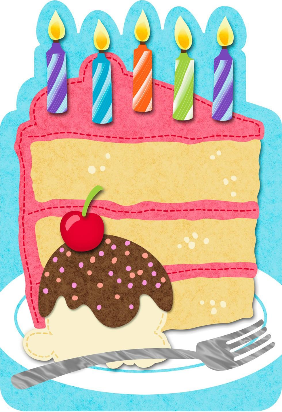 Slice Of Cake Felt Musical Birthday Card Greeting Cards