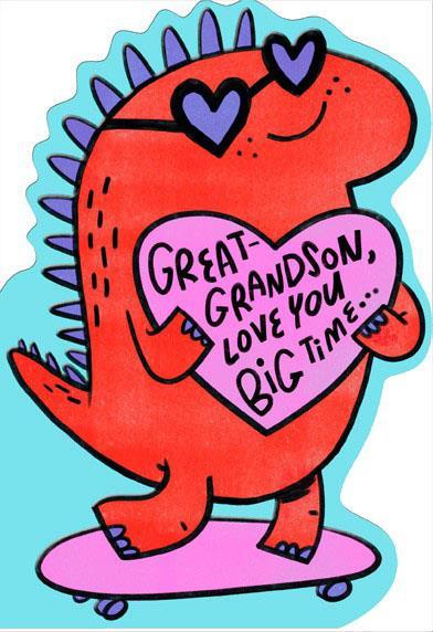 Skateboarding Dinosaur Great Grandson Valentine Card