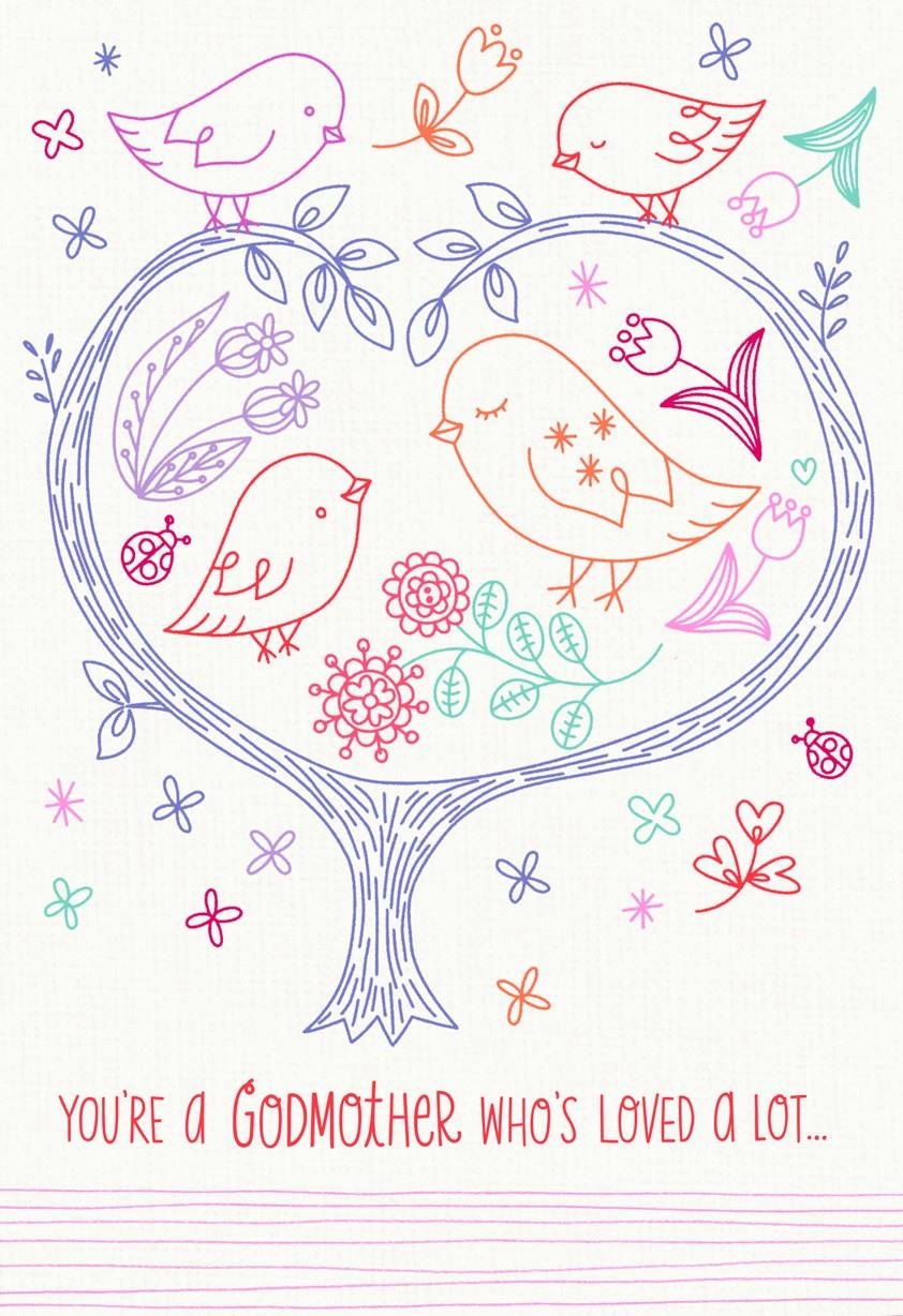 Birds In A Tree Happy Birthday Card For Godmother