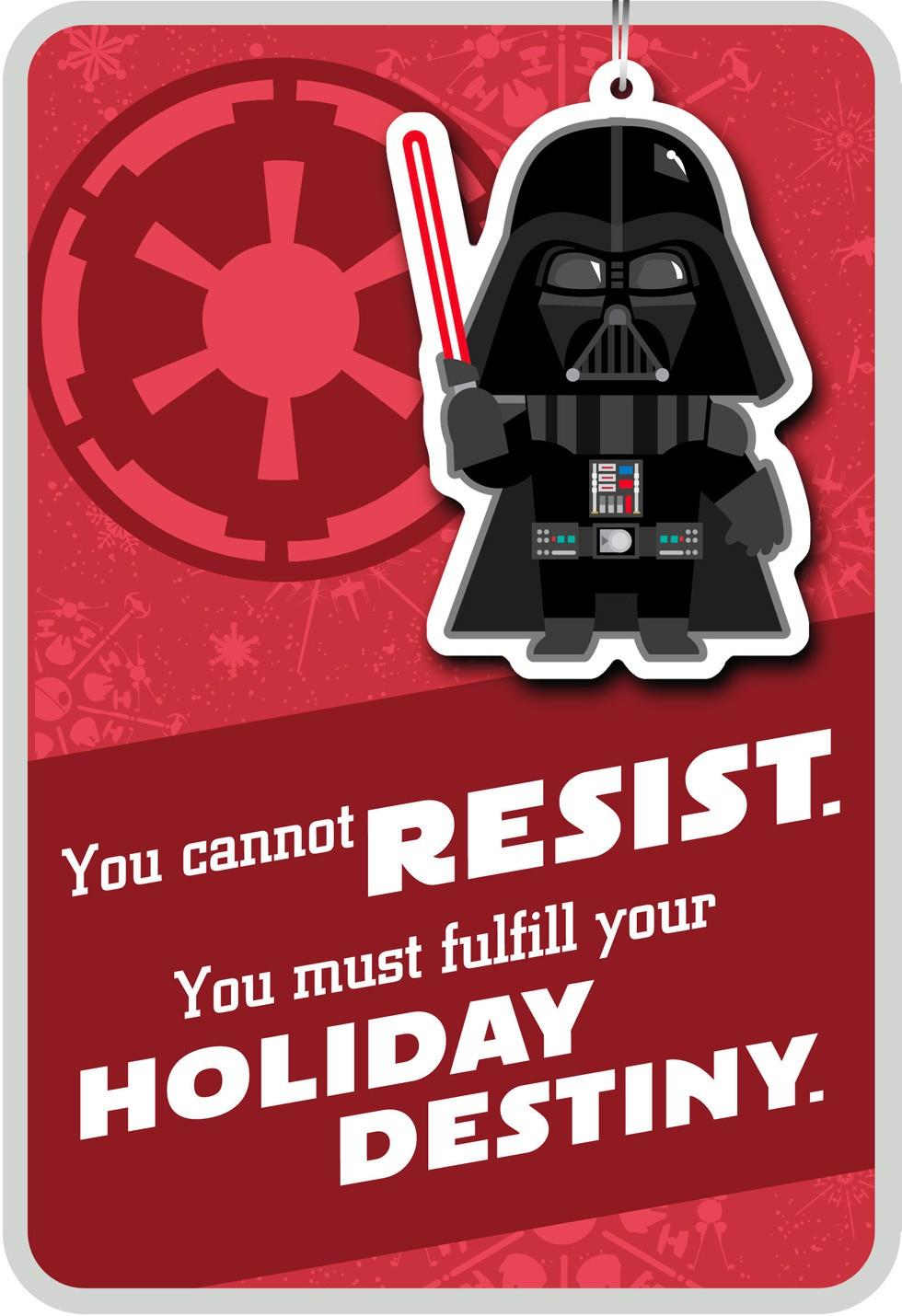 Merry Side Darth Vader Christmas Card With Ornament