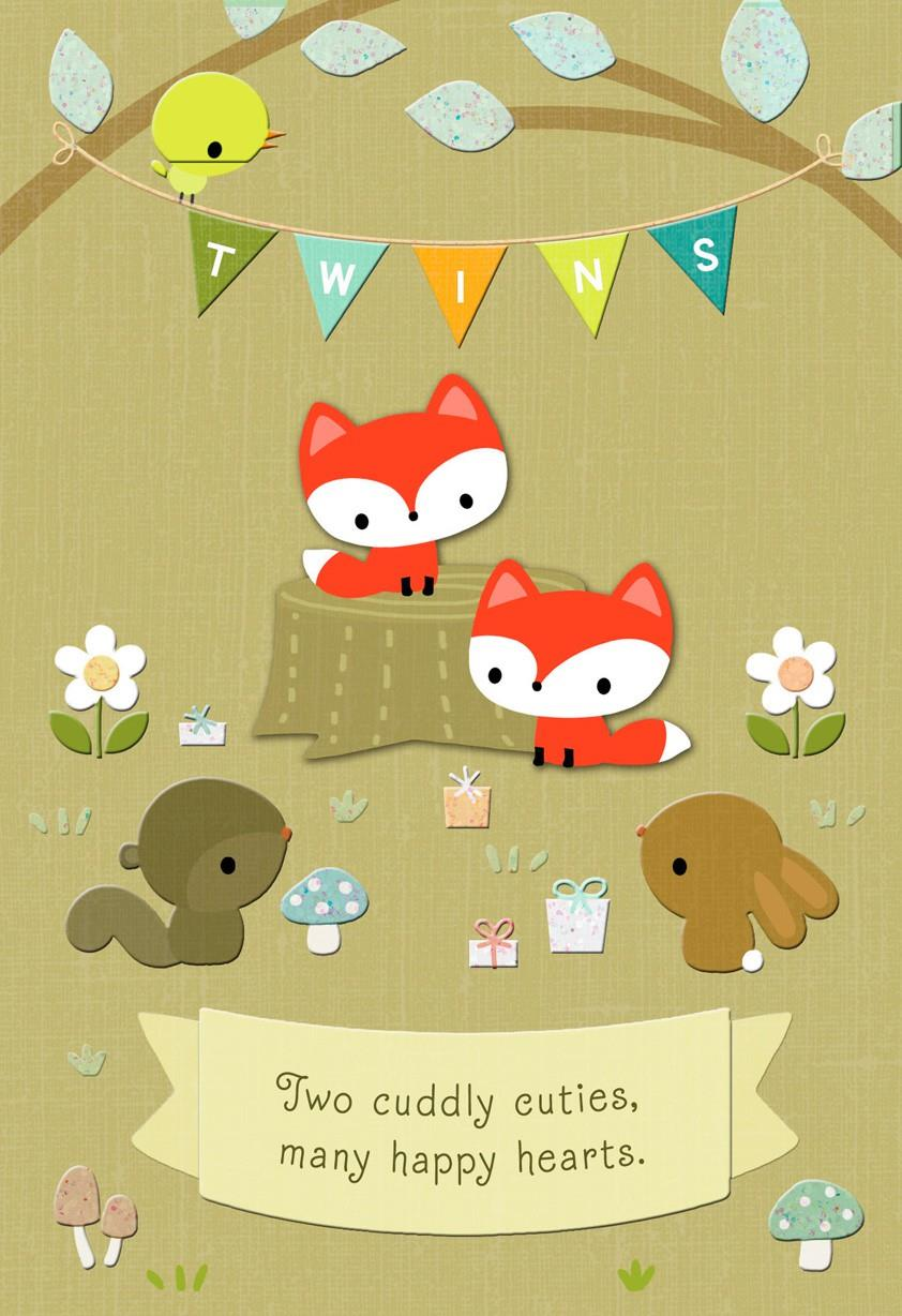 Woodland Animals New Twins Baby Card Greeting Cards