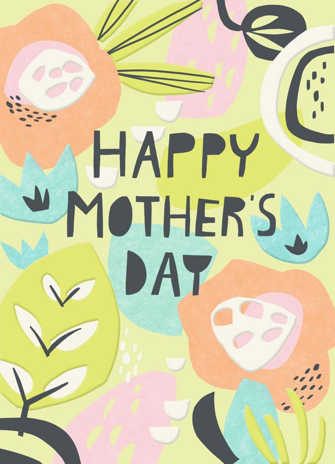 Paper Flowers Blank Mothers Day Card Greeting Cards