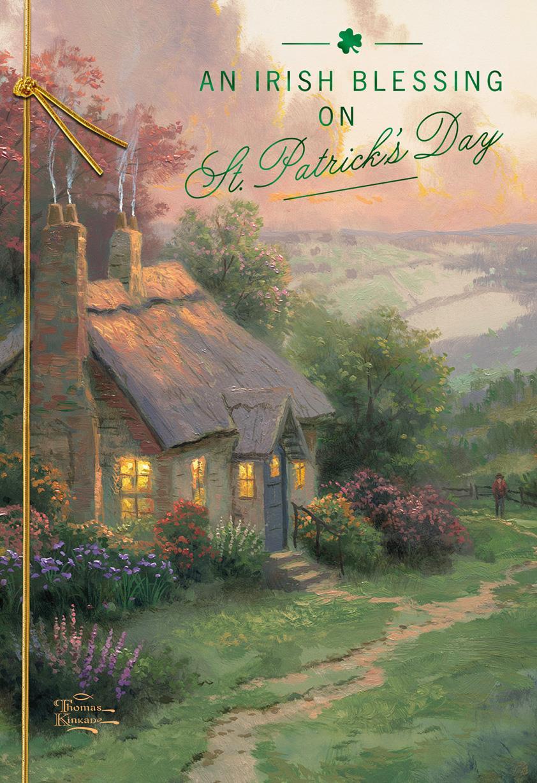 Thomas Kinkade Make A Wish Cottage St Patricks Day Card