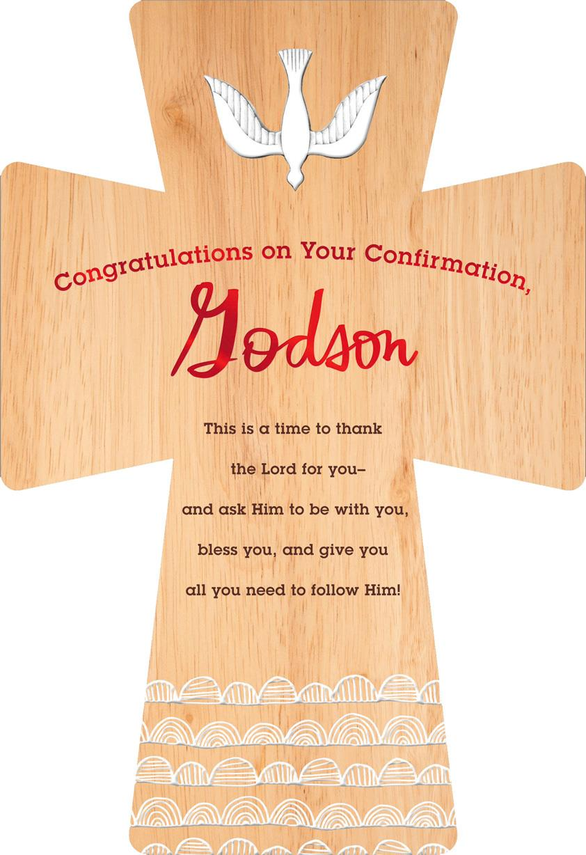 Wood Grain Cross Confirmation Card For Godson Greeting