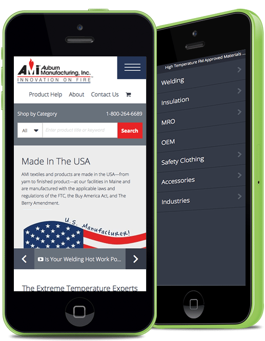 Auburn Manufacturing Page Layout on Mobile Device