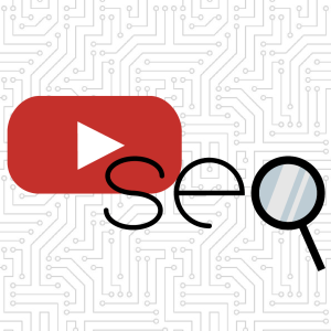 youtube logo and the word seo spelled out with a magnifying glass