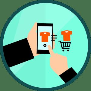 digital illustration of man on mobile phone, placing shirt in shopping cart, e-commerce illustration