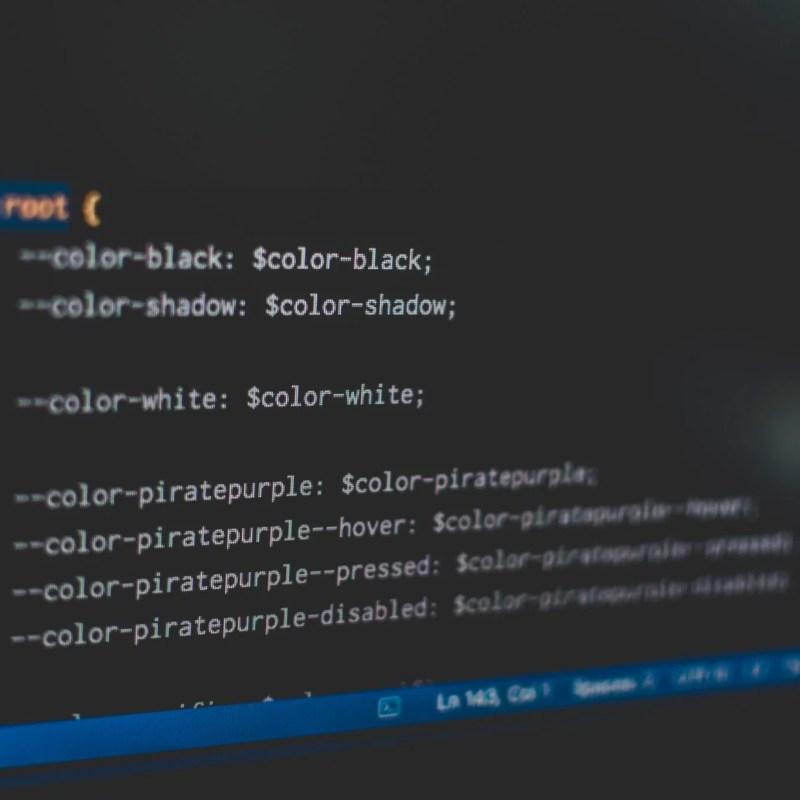 white web development code text on a black background