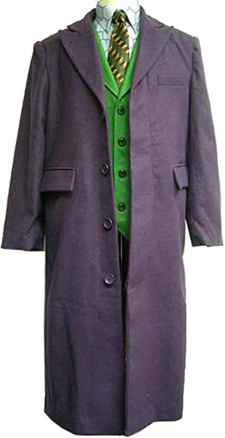 Movie Heath Ledger Joker Purple Trench Wool Trench Coat Costume Halloween Party
