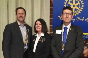 Rotary Club of Hall's President Graeme, 9710 District Governor Monica and Rotary Club of Yass President Scott.