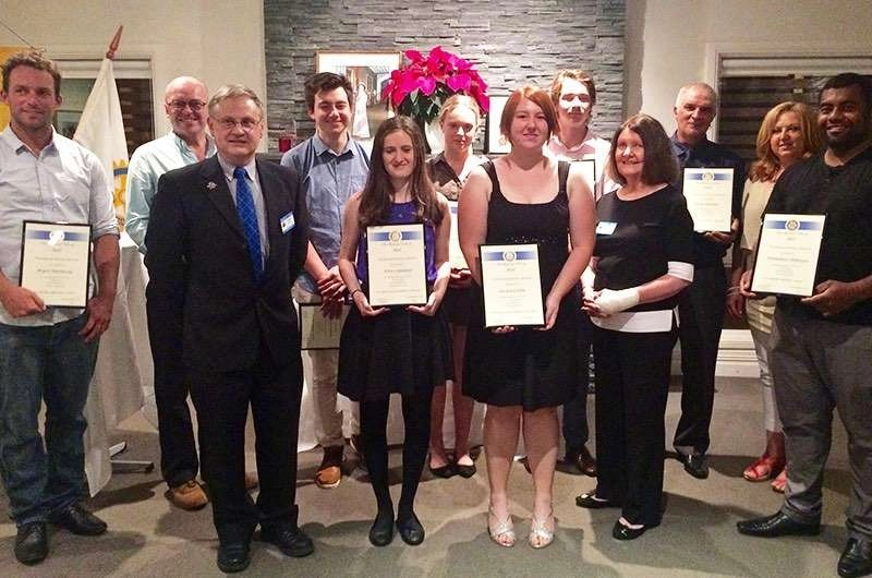 RC Hall Scholarship and Award winners for 2015 with District Governor Monica Garrett and Assistant DG Graeme Kinraid