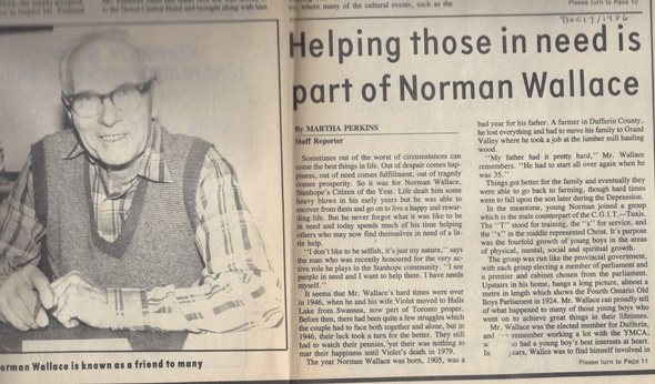 A newspaper clipping with a photo of an older gentleman