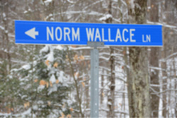 street sign of Normal Wallace Lane